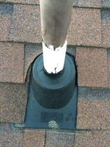rubber pipe boot around base of vent pipe on roof