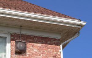 corner of roof on brick building