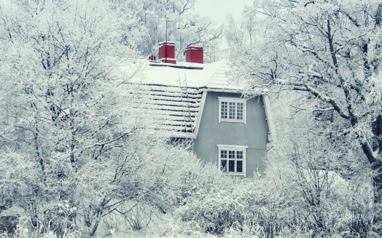 snowy gray house surrounded by snowy trees and bushes