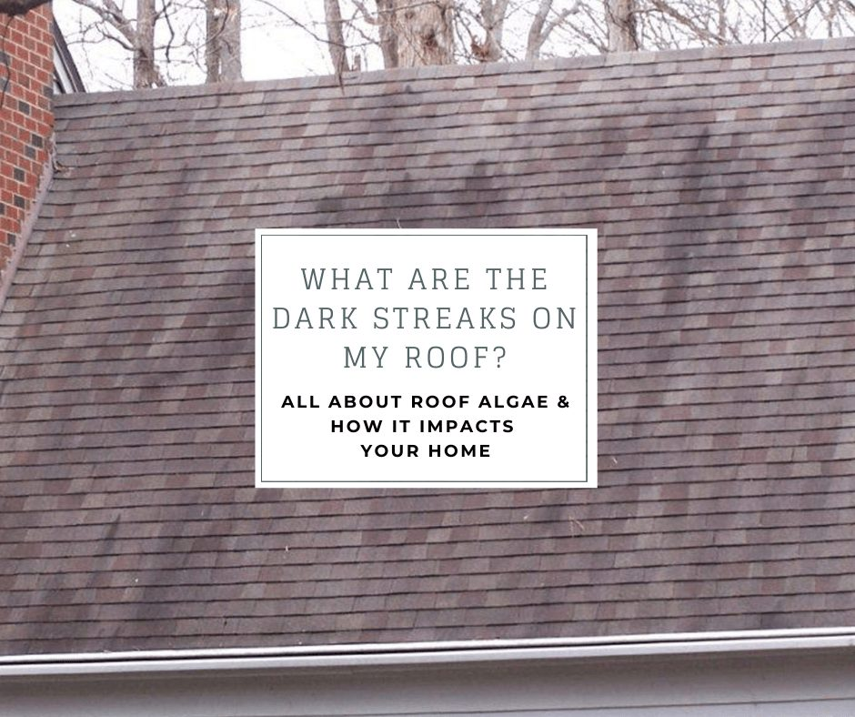 """roof with dark streaks and the caption """"What are the dark streaks on my roof? all about roof algae and how it impacts your roof"""""""