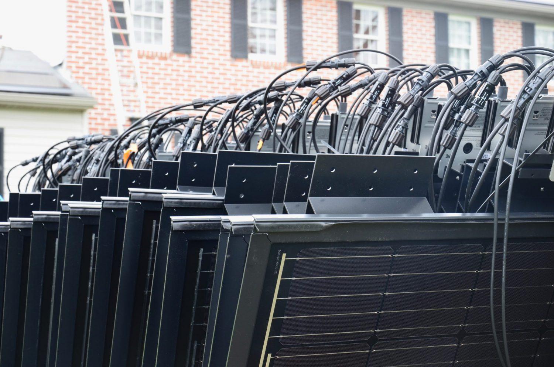Decotech solar panels lined up