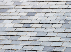 slanted roof with processed slate roofing
