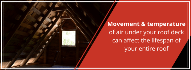Movement and temperature of air under your roof deck can affect the lifespan of your entire roof