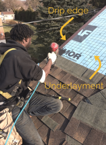Man on a roof with arrows pointing to the drip edge and underlayment