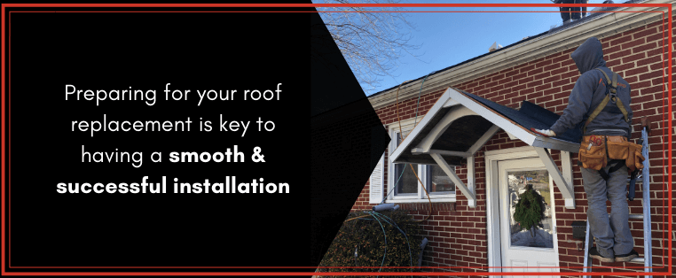 "joyland roofing roofer preparing a smaller fron tporch roof to be reshingled with the caption ""preparing for your roof replacement is key to having a smooth and successful installation"""