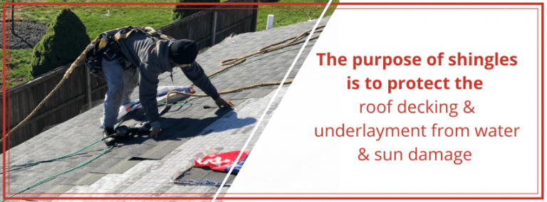 the purpose of shingles is to protect the roof decking and underlayment from water and sun damage