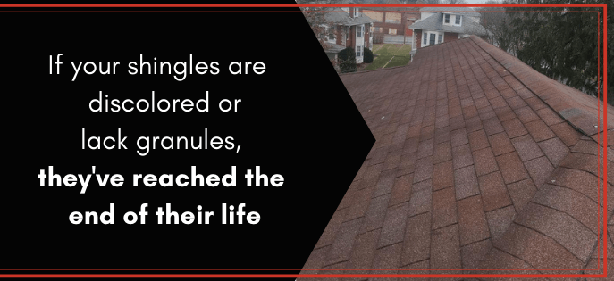 """worn out and discolored 3-tab shingles taken by a joyland roofing inspector with the caption """"If your shingles are discolored or lack granules, they've reached the end of their life"""""""