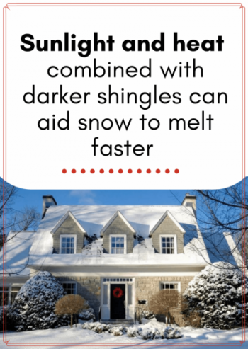 Sunlight and heat combined with darker shingles can aid snow to melt faster