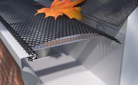 Orange leaf on top of screen gutter guard