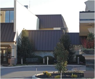Commercial building with metal roofing