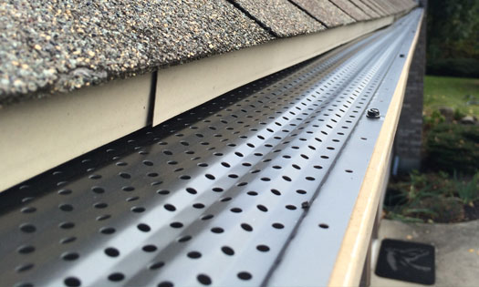 gutterRX metal gutter guard installed on gutter system