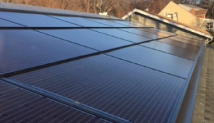 close-up of solar panels on roof
