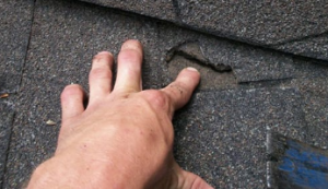 hand pointing to roof damage