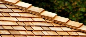 close up of wood shakes and shingles on roof
