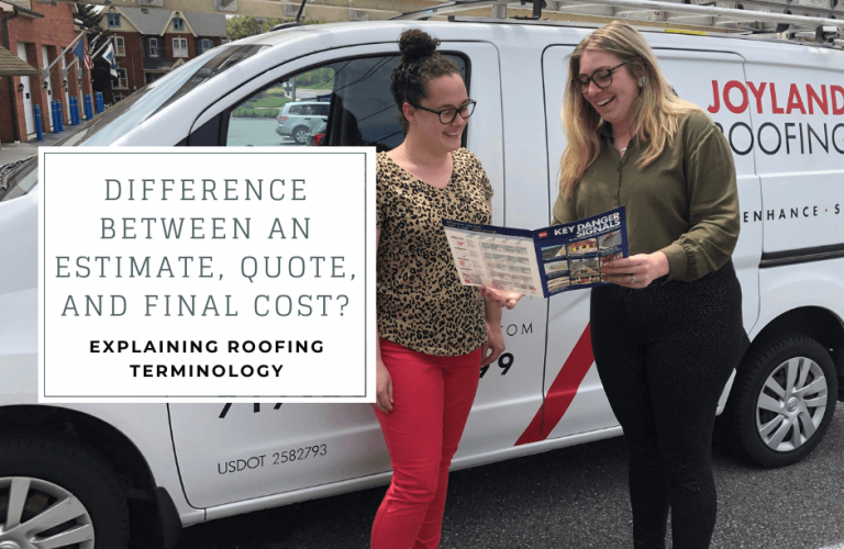 Two women discussing roofing options