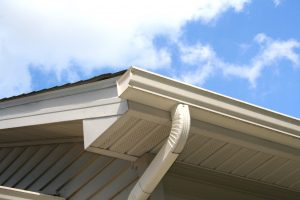 Seamless gutter on edge of roof