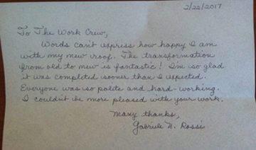 handwritten letter from pleased customer to Joyland Roofing