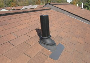 newly installed pipe boot with flashing