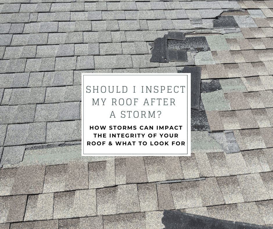 """a roof inspected by joyland roofing inspector shows missing asphalt shingles from storm damage. the text says """"should I inspect my roof after a storm? How storms can impact the integrity of your roof & what to look for"""""""