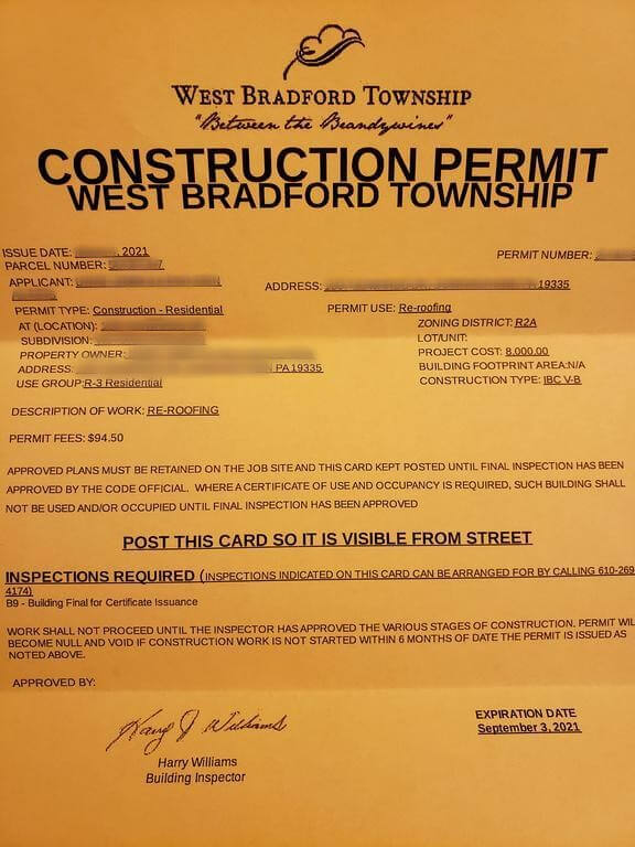 construction permit for west bradford township in downingtown pa