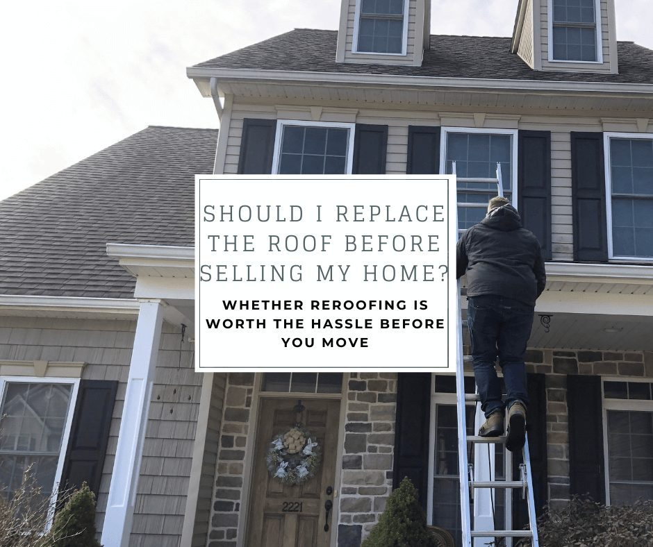 """joyland roofing inspector scaling ladder to get on a roof with the caption """"should I replace the roof before selling my home? whether reroofing is worth the hassle before you move"""""""