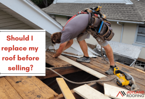 """joyland roofing roofer installing new roof with the caption """"Should i replace my roof before selling?"""""""
