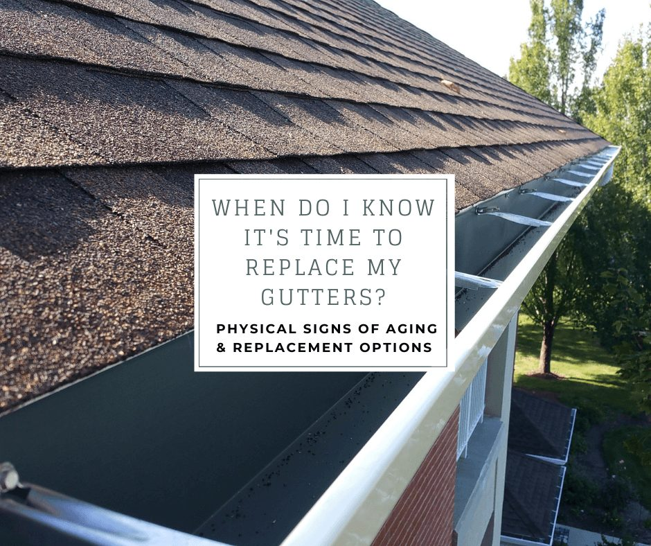 """k-style gutter installed by joyland roofing with the caption """"when do i know it's time to replace my gutters? physical signs of aging & replacement options"""""""