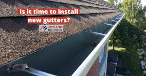 """joyland roofing installed k-style gutters with caption """"is it time to install new gutters?"""""""